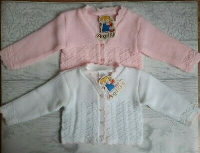 Baby Girls Knitted Cardigan White Pink Long Sleeved 0-3 3-6 6-9 Months New