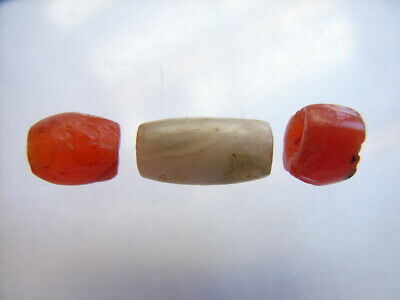 3 Ancient Roman Carnelian, Agate Beads Romans VERY RARE!  TOP !!