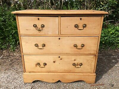 "Small Victorian Pine Chest Of Drawers 34""w Stripped & Waxed"