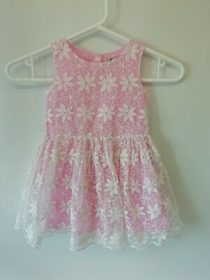 Girl's NEXT Beautiful Pink & White Smart Casual Summer Dress Age 1 1/2 - 2 years