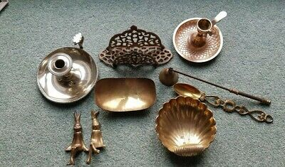 Brass And Other Metal Ware Items including candlesticks, letter rack, snuffer.