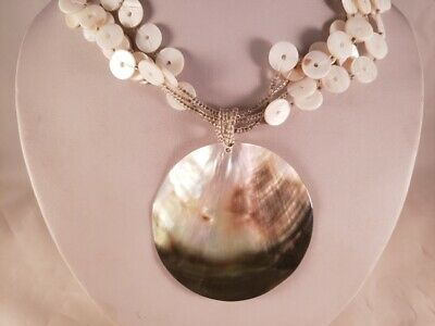 Mother of Pearl Disk Large Shell Pendant Necklace L8