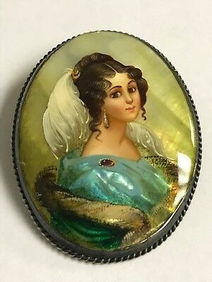 Antique Spanish Noblewoman Hand painted on Mother of Pearl Pin/Brooch Sterling