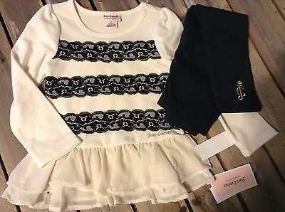 Juicy Couture cream and black tunic top leggings girls sz 4T New