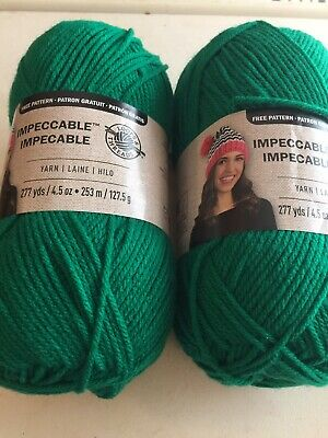 Lot Of 2 Skeins Loops & Threads Impeccable Yarn In Kelly Green