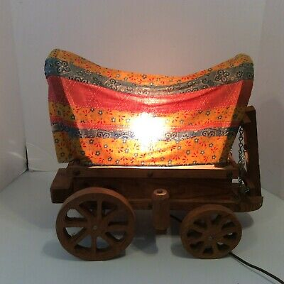 Western Covered Wagon Light Table Lamp Vintage Cowboy Wooden Wagon Country Decor