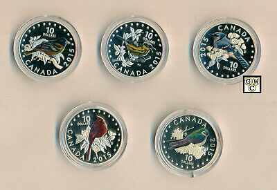 2015 set of 5 Coins Songbird Colorized Prf $10 Silver Coin 1/2oz .9999Fine(OOAK)