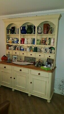Beautiful Antique Pine Cream Painted Dresser Large Shabby Chic Rustic <6Ft Wide