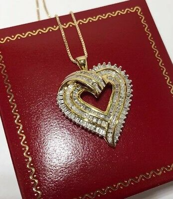 14k Yellow Gold Sterling Silver 1 Ct Diamond Pave HEART Pendant 925 Necklace Set