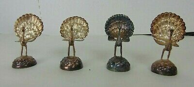 Lot of 4 Antique/Victorian Ornate Silverplate Peacock Place Card Holders