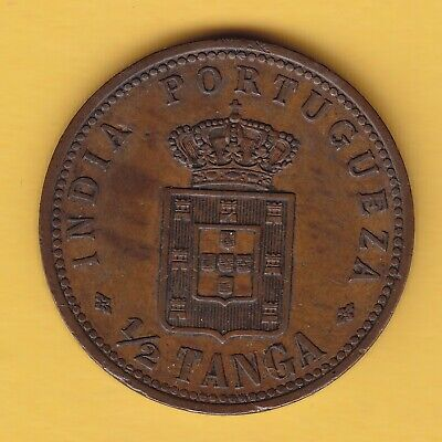 India Portuguese Administration  1/2 Tanga  1901  KM 16  XF+  rare in this cond.