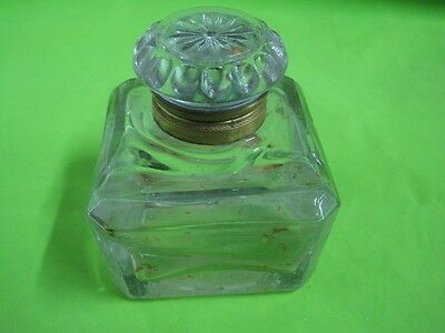 Antique ink well inkstand in glass 1754 TC