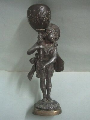 Antique Candle holder Candlestick in bronze a figurine a boy