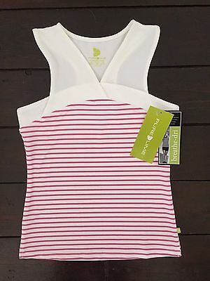 Girl's Purelime 2573 Candy Cane Racerback Top - White/Pink Age 7-8 Years **New**