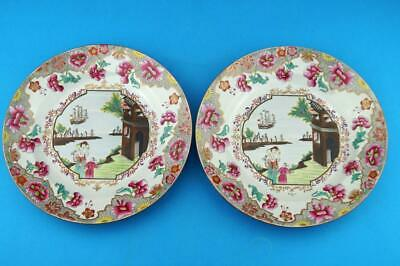 RARE PAIR of c1820 SPODE Stone China SHIP PATTERN Antique PLATES 3067 Excellent