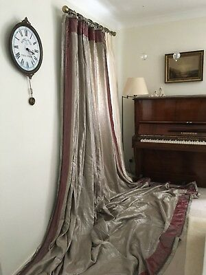 Huge 11.Ft Drop Designers Guild Bespoke Silk Linen Velvet Silver Grey Curtains