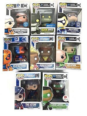 Funko Pop Various Characters LOT of 8 Figures, Lex Luther, Green Lantern, Atom..