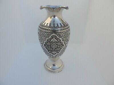 Very Fine Antique Signed Persian Islamic Solid Silver Vase 367 Grams 12.95 Oz