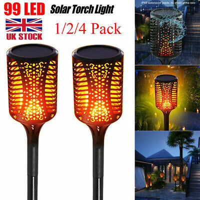 4PCS Waterproof 99LED Solar Torch Lights Dancing Flickering Flame Garden Lamp UK