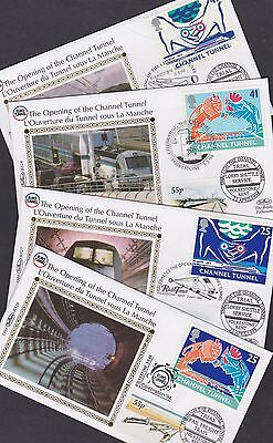 Great Britain 1994 FDC Small Benham Silk Covers Opening of Channel Tunnel Manche