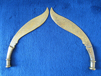 Pair Beautiful Antique Solid Brass Ornaments In Nepalese Kukri Shape: 27Cm Long