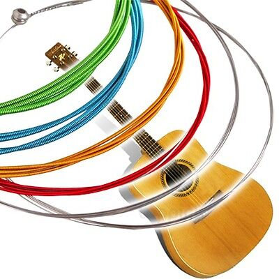 6 pcs/Set Rainbow Multi Color Acoustic Guitar Strings Stainless Steel Alloy 1M