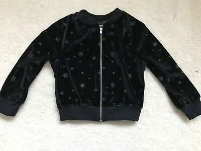 Girls Black Star Patterned Velour Jacket Age 3 years by TU