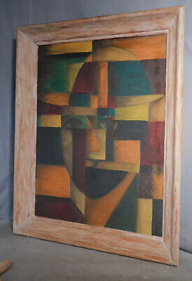 Vintage Modern Abstract Oil Painting Cubist Potrait  Chalky White Picture Frame