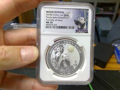 2018-Z China Moon Festival Silver Panda 1 oz  Medal NGC MS70 First Day Issue