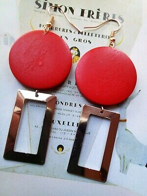 AD46 Art Deco Vintage Red Round Wooden Gold Plated abstract drop Earrings