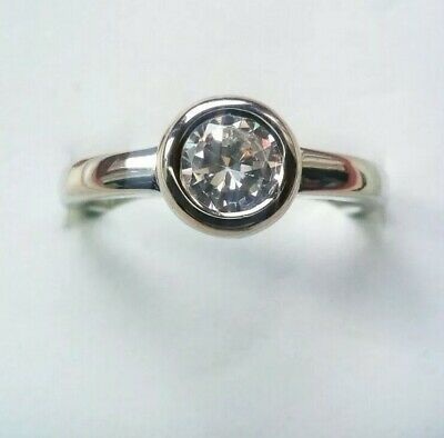 Sterling silver Art Deco Vintage Round Halo Solitaire 1.5 White Sapphire Ring R
