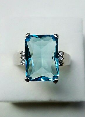 AD124 silver plated Art Deco Vintage ocean Blue white Sapphire Rectangle Ring U