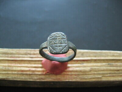Runes Symbols Sign Ancient Celtic Magic Engraved Bronze Finger Ring 300-100 B.c.