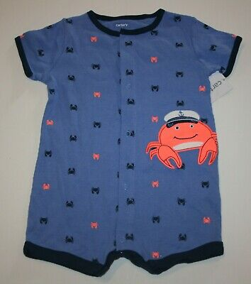 New Carter/'s Boys 1 Piece Pirate Crab Navy Romper Outfit NWT NB 3 6m 9m 12m 18m