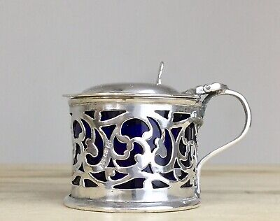 Antique Victorian Solid Sterling Silver Pierced Mustard Pot 1903 W Hutton & Sons