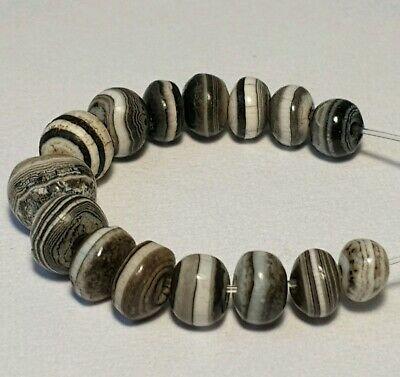 15 Ancient Rare Indo-Tibetan Banded King Solomon Agate Beads