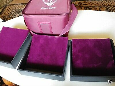 Premier Designs Jewelry Travel Carrying Case 3 Stackable Trays & Display pads