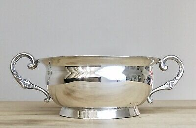 Vintage Solid 900 Silver Bowl Two Foliate Handles 174 Grams 6.5 Inches