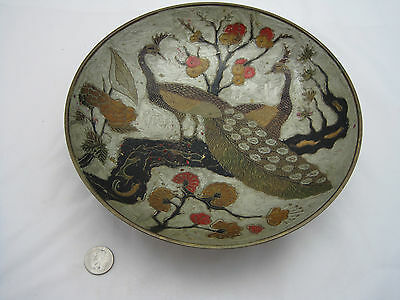 Made in India/large brass enameled painted bowl/peacock