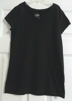 Girl's Solid Black V-Neck Justice Short Sleeve Shirt Size 14 Girls