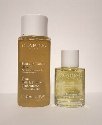 CLARINS Tonic Bath & Shower Concentrate 100ml & Body Treatment Oil 30ml Set