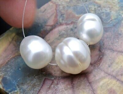 3PC RARE AUSTRALIAN COLORFUL WHITE 10.2-13.5mm CULTURED PEARLS *PASPALEY PEARLS