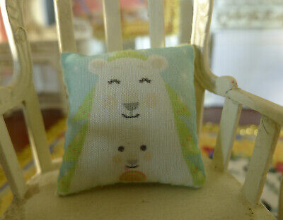 Beautiful Dollhouse White Cute Bear Family Miniature Pillow 1:12 Scale