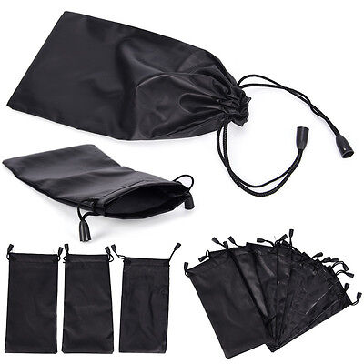 3X Microfiber Pouch Bag Soft Cleaning Case Sunglasses Eyeglasses Glasses Black''