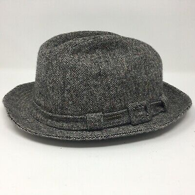 Vintage Stetson 100% Pure Wool Gray Tweed Fedora Hat Size 7 3/4 Made in USA!