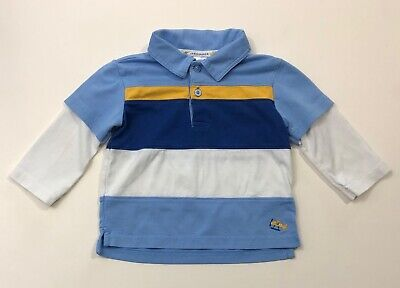 JANIE AND JACK Vintage Seaplane Double Sleeve Polo Shirt Size 6-12 Months