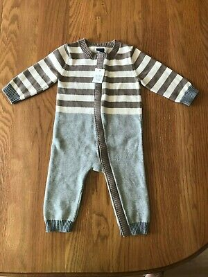26d77d247 NWT Baby Gap Long Sleeve Brown White Gray Striped Sweater Romper 6-12 Months