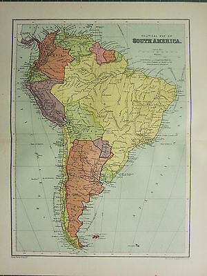 1904 Antique Map ~ South America Political Chile Argentina Brazil Peru Colombia