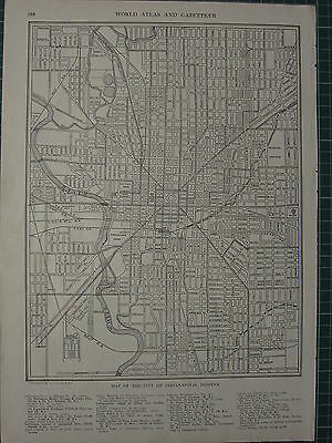 1926 Map ~ Indianapolis Indiana Railway Stations Avenues White River