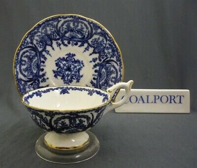 Wide Coalport England Bone China Cobalt Blue & Gold Trim Tea Cup & Saucer Duo